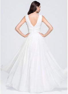 A-Line/Princess V-neck Floor-Length Chiffon Evening Dress With Ruffle