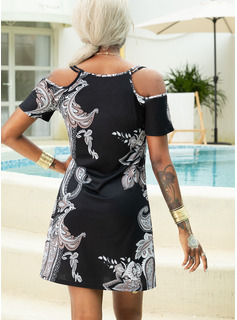 Print Shift Cold Shoulder Sleeve Short Sleeves Mini Boho Casual Vacation T-shirt Dresses