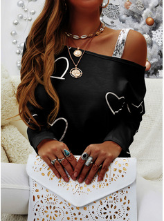 Print Sequins One Shoulder Long Sleeves Casual Blouses