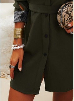 Sequins Solid Sheath Long Sleeves Mini Casual Shirt Dresses