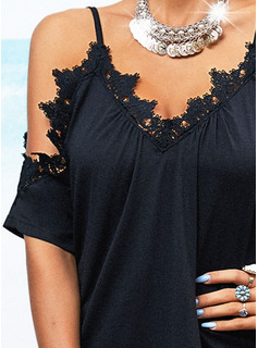 Encaje Sólido Vestidos sueltos Mangas 1/2 Mini Pequeños Negros Casual Túnica Vestidos de moda