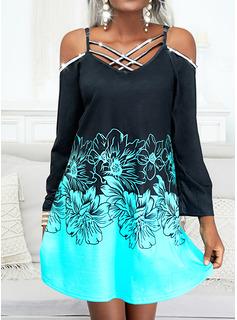 Color Block Blomster Print Skiftekjoler Lange ærmer Midi Casual Ferie Tunika Mode kjoler