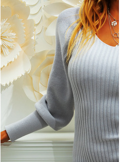 V-Neck Casual Long Tight Solid Sweaters