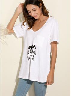 Animalske Udskriv V-hals Korte ærmer Casual T-shirt