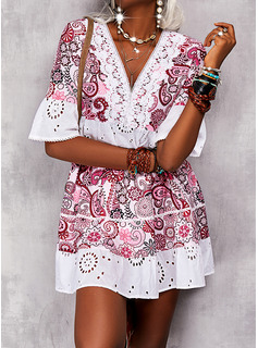 Impresión Vestidos sueltos Mangas 1/2 Mini Boho Casual Túnica Vestidos de moda