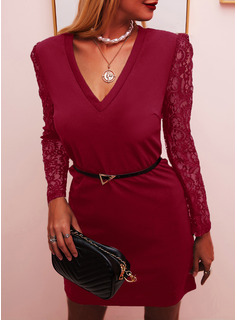 Lace Solid Bodycon Long Sleeves Puff Sleeves Mini Little Black Party Elegant Dresses