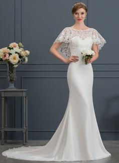 Trumpet/Mermaid Scoop Neck Court Train Chiffon Wedding Dress
