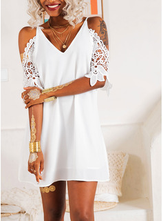 Lace Solid Shift 3/4 Sleeves Cold Shoulder Sleeve Mini Little Black Party Elegant Tunic Dresses