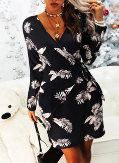 フローラル 印刷 シースドレス 長袖 ミニ エレガント ラップ ファッションドレス