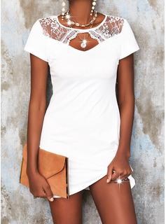 Lace Solid Shift Short Sleeves Mini Elegant Tunic Dresses