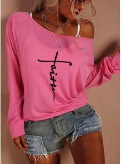 Stampa Una spalla Maniche lunghe Casuale Reggiseno Tshirt