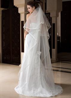 1 couche Bord en ruban Voiles de mariée chappelle avec Ruban