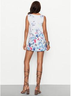 Floral Impresión Vestidos sueltos Sin mangas Mini Casual Vacaciones Franelilla Vestidos de moda