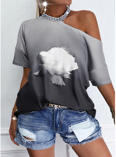 Floral Print Sequins Gradient One Shoulder Short Sleeves Casual Blouses