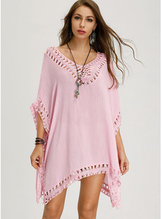 Solid Shift Short Sleeves Mini Boho Casual Vacation Tunic Dresses