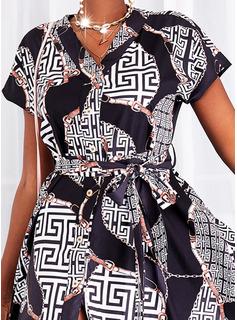 Print Kjole med A-linje Korte ærmer Midi Casual skater Mode kjoler