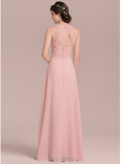 6bd0587e4d3b8 Loading zoom. Loading. Color: As Picture. A-Line/Princess Scoop Neck Floor-Length  Chiffon Lace Bridesmaid Dress With Ruffle Split ...