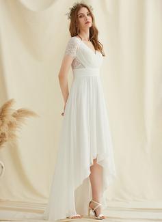 A-Linje V-ringning Asymmetrisk Chiffong Spets Bröllopsklänning