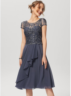 A-Line Scoop Neck Knee-Length Chiffon Lace Cocktail Dress With Cascading Ruffles