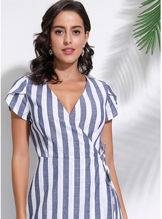Striped A-line Short Sleeves Asymmetrical Casual Elegant Wrap Dresses