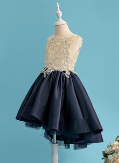 Balowa/Księżniczka Asymetryczny Sukienka dla Dziewczynki Sypiącej Kwiaty - Satyna Bez Rękawów Okrągły/ głęboko wycięty Z Koronka/cekiny