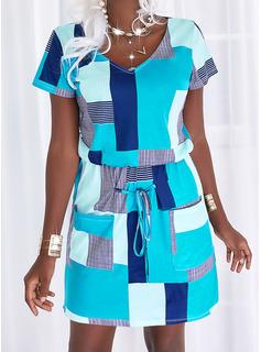 Trozos de color Tela escocesa raya Cubierta Manga Corta Mini Casual Vestidos de moda