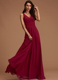 V-neck Dusty Rose Floor-Length Chiffon Dresses