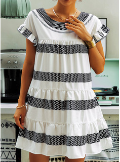 Above Knee Round Neck Polyester Print/Ruffles Short Sleeves Fashion Dresses