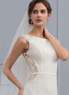 Trumpet/Mermaid Scoop Neck Court Train Stretch Crepe Wedding Dress