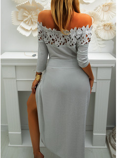 Lace Solid Sheath 3/4 Sleeves Midi Party Sexy Dresses