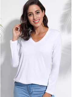 Sólido Manga larga poliéster Escote en V camiseta Blusas