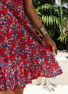 フローラル 印刷 シフトドレス ノースリーブ ミニ カジュアル 休暇 ファッションドレス