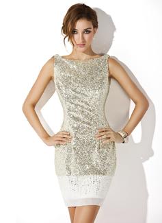 Sheath/Column Scoop Neck Short/Mini Chiffon Sequined Cocktail Dress