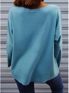 Solid V-hals Lange ærmer Casual T-shirt