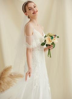 Corte A Off-the-ombro Sweep/Brush trem Tule Renda Vestido de noiva com Beading
