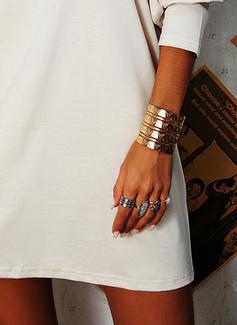 Solid Shift Long Sleeves Mini Casual Tunic Dresses