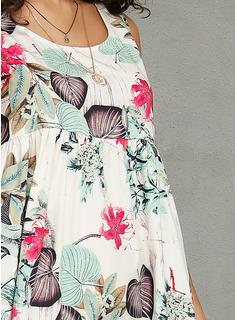 poliéster/Lino con Impresión Maxi Vestido