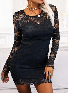 Blonder Solid Bodycon Lange ærmer Mini Den lille sorte Party Elegant Mode kjoler