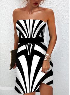 Impresión Vestido línea A Sin mangas Mini Elegante Patinador Vestidos de moda