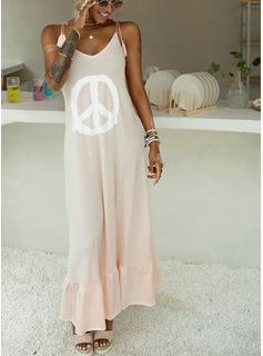 Maxi Spaghetti Straps Polyester Print/Ruffles Sleeveless Fashion Dresses