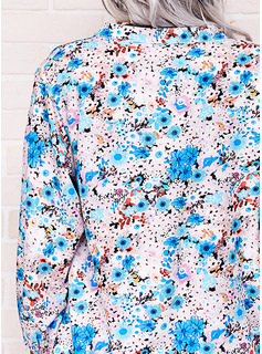 Floral Impresión Cuello en V Manga Larga Casual Blusas