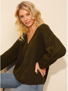 Punto De Cable Punto grueso Sólido Cuello en V Suéter Suéteres