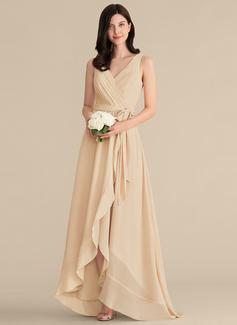 V-Neck Champagne Chiffon Dresses