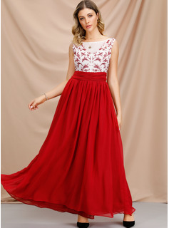 Solid A-line Sleeveless Maxi Party Dresses