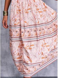 Floral Impresión Vestido línea A Sin mangas Midi Boho Casual Vacaciones Patinador Tipo Vestidos de moda