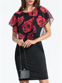 Floreale Aderente Maniche corte Midi Casuale Elegante Vestiti di moda