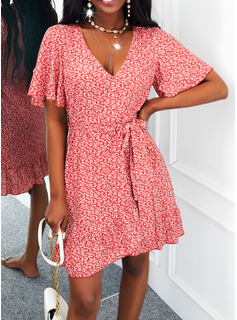 Print A-line Short Sleeves Midi Casual Skater Dresses