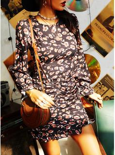 Floral Print Sheath Long Sleeves Mini Casual Dresses