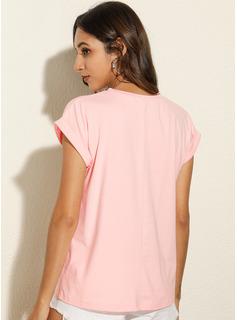 Print Short Sleeves Polyester Round Neck T-shirt Blouses