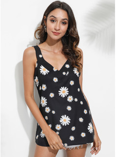 Impresión Floral Sin mangas poliéster Escote en V Camisetas sin mangas Blusas
